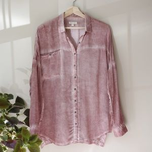 Urband Outfitters Dip Dyed Blush Button Down Tunic